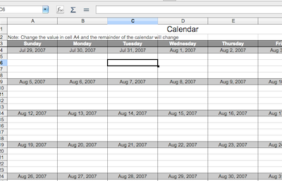 Calc Calendar Template Basic Guide 2 Office