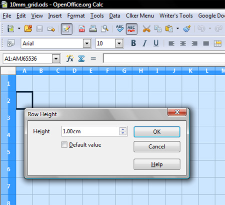 Setting Row Height in OpenOffice Calc