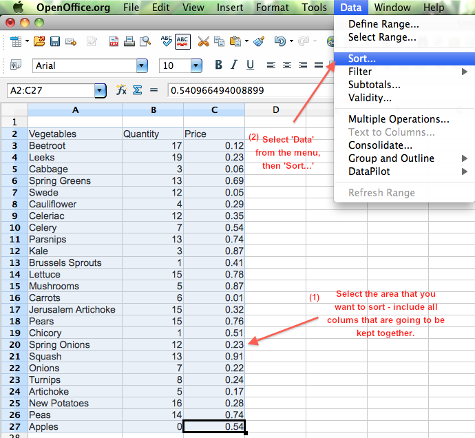 Faq how to sort lists in calc guide 2 office - Download open office calc for windows ...