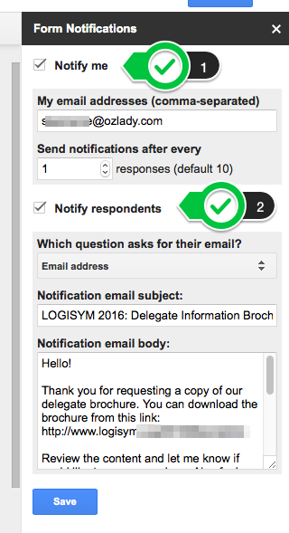 Configuring form notifications